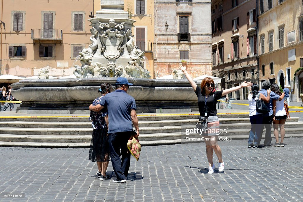 The Fountain of the Pantheon at Piazza della Rotonda is cordoned off with yellow tape on June 19, 2017 in Rome, Italy. The cordon was set up by local police to prevent bathing in the water as well as stopping people from eating and sitting on the fountain walls. The Mayor of Rome, Virginia Raggi, made the decision to protect the historic fountains from further damage.