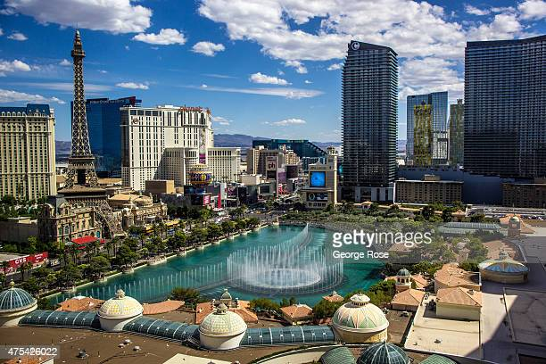 The Fountains of Bellagio are viewed on May 19 2015 in Las Vegas Nevada Tourism in America's 'Sin City' has within the past year made a major...