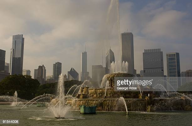 The fountains spray water into the air at the Clarence Buckingham Fountain in Grant Park as seen in this 2009 Chicago Illinois late afternoon...