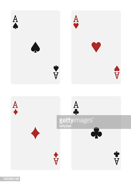 The four aces in a deck of cards, on a white background