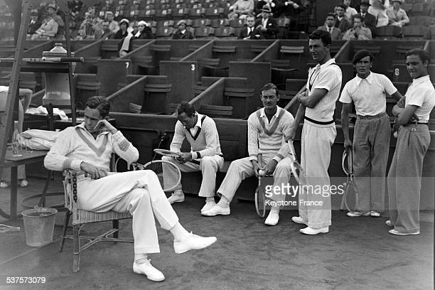 The four American tennis players rested before playing a friendly match at Roland Garros on July 16 1933 in Paris France