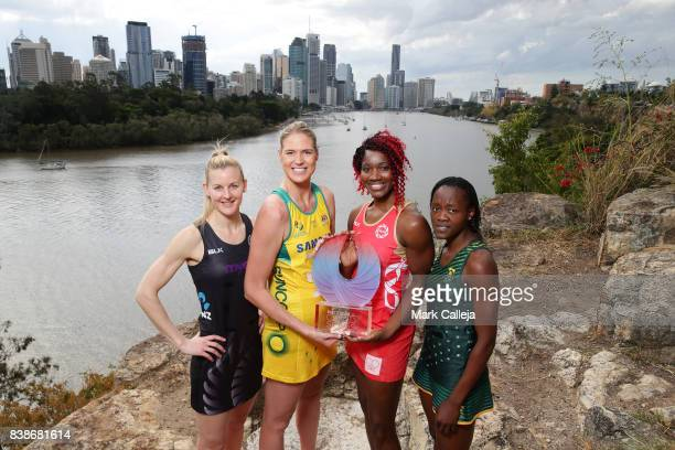 The Four Captains Katrina Grant of New Zealand Caitlin Bassett of Australia Ama Agbeze of England and Bongiwe Msomi of South Africa pose during the...