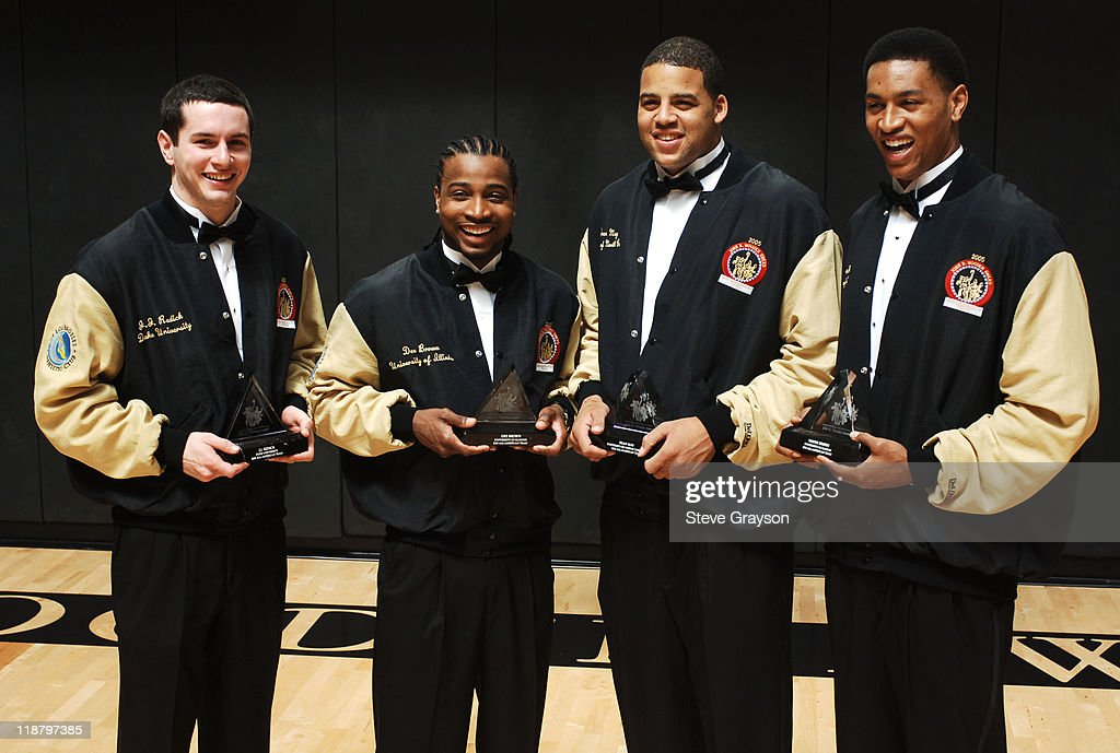 The four finalists in the 2005 John R. Wooden award as the nation's best male college basketball player after award ceremonies <a gi-track='captionPersonalityLinkClicked' href=/galleries/search?phrase=J.J.+Redick&family=editorial&specificpeople=211608 ng-click='$event.stopPropagation()'>J.J. Redick</a> of Duke, Dee Brown of Illinois, <a gi-track='captionPersonalityLinkClicked' href=/galleries/search?phrase=Sean+May&family=editorial&specificpeople=200726 ng-click='$event.stopPropagation()'>Sean May</a> of North Carolina, and <a gi-track='captionPersonalityLinkClicked' href=/galleries/search?phrase=Wayne+Simien&family=editorial&specificpeople=208990 ng-click='$event.stopPropagation()'>Wayne Simien</a> of Kansas at the Los Angeles Athletic Club in downtown Los Angeles Saturday, April 9, 2005. The award went to <a gi-track='captionPersonalityLinkClicked' href=/galleries/search?phrase=Andrew+Bogut&family=editorial&specificpeople=207105 ng-click='$event.stopPropagation()'>Andrew Bogut</a> of Utah.