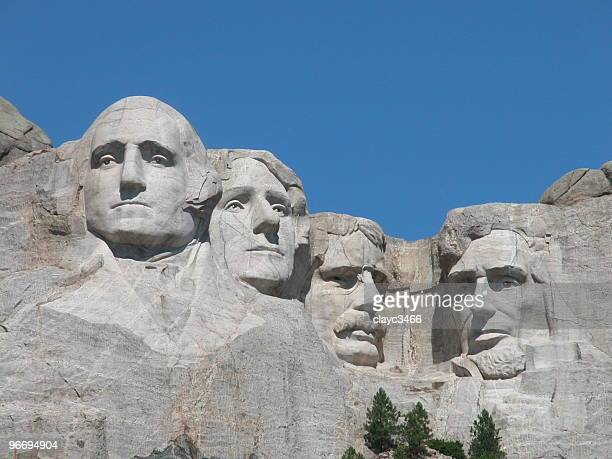 The four founders' faces carved on Mount Rushmore