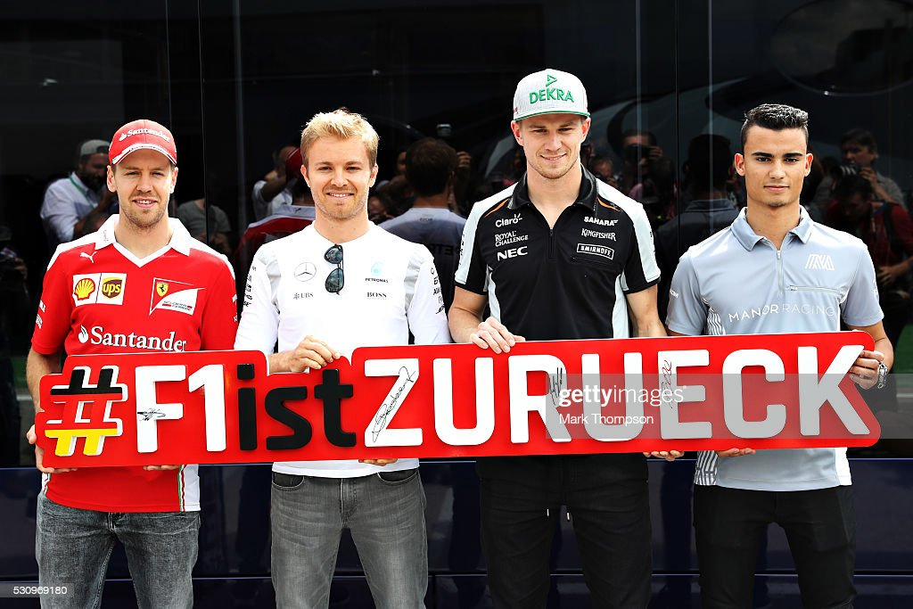 The four German drivers on the grid, <a gi-track='captionPersonalityLinkClicked' href=/galleries/search?phrase=Sebastian+Vettel&family=editorial&specificpeople=2233605 ng-click='$event.stopPropagation()'>Sebastian Vettel</a> of Germany and Ferrari, <a gi-track='captionPersonalityLinkClicked' href=/galleries/search?phrase=Nico+Rosberg&family=editorial&specificpeople=800808 ng-click='$event.stopPropagation()'>Nico Rosberg</a> of Germany and Mercedes GP, <a gi-track='captionPersonalityLinkClicked' href=/galleries/search?phrase=Nico+Hulkenberg&family=editorial&specificpeople=2566799 ng-click='$event.stopPropagation()'>Nico Hulkenberg</a> of Germany and Force India and <a gi-track='captionPersonalityLinkClicked' href=/galleries/search?phrase=Pascal+Wehrlein&family=editorial&specificpeople=9406324 ng-click='$event.stopPropagation()'>Pascal Wehrlein</a> of Germany and Manor Racing line up for a photo during previews to the Spanish Formula One Grand Prix at Circuit de Catalunya on May 12, 2016 in Montmelo, Spain.