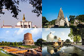 The Four Holy Places of Buddhism, include path for remove background