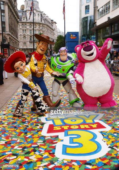The four main characters Jessie Woody Buzz and the new one Lot'sO'Huggin Bear arrive in London's Leicester Square on July 18 2010 for the British...