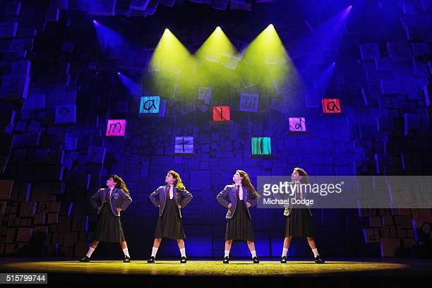 The four Matilda cast members Dusty Bursill Tiana Mirra Alannah Parfett and Ingrid Torelli perform during a media call for Matilda The Musical at...