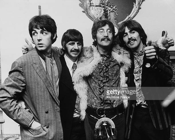 The four members of the BEATLES giving a press conference upon the release of their new album SERGENT PEPPER'S LONELY HEARTS CLUB BANDS on June 1st