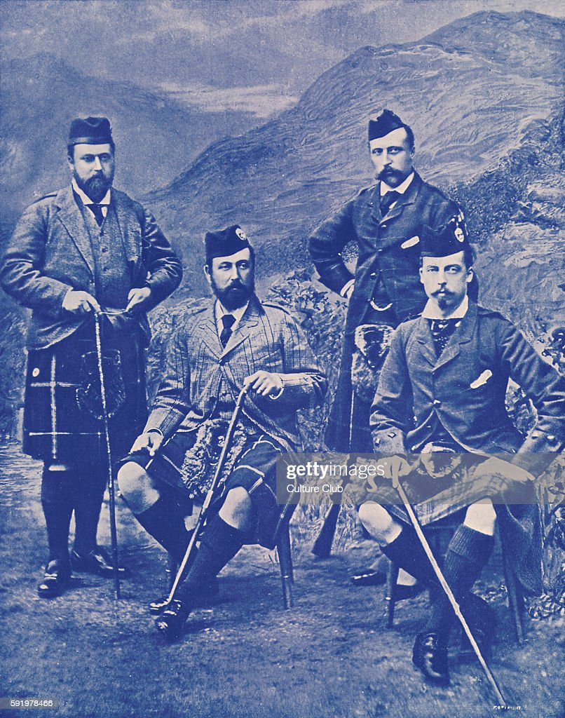 The Four Princes' Prince of Wales Duke of Edinburgh Duke of Connaught and Duke of Albany at Abergeldie 1 September 1881 In Highland DressFuture...