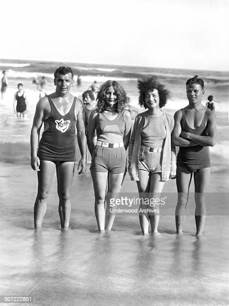 The four prize winners at the fashion parade to celebrate the official opening of the Treasure Island beach here on 'Splash Sunday' Galveston Texas...