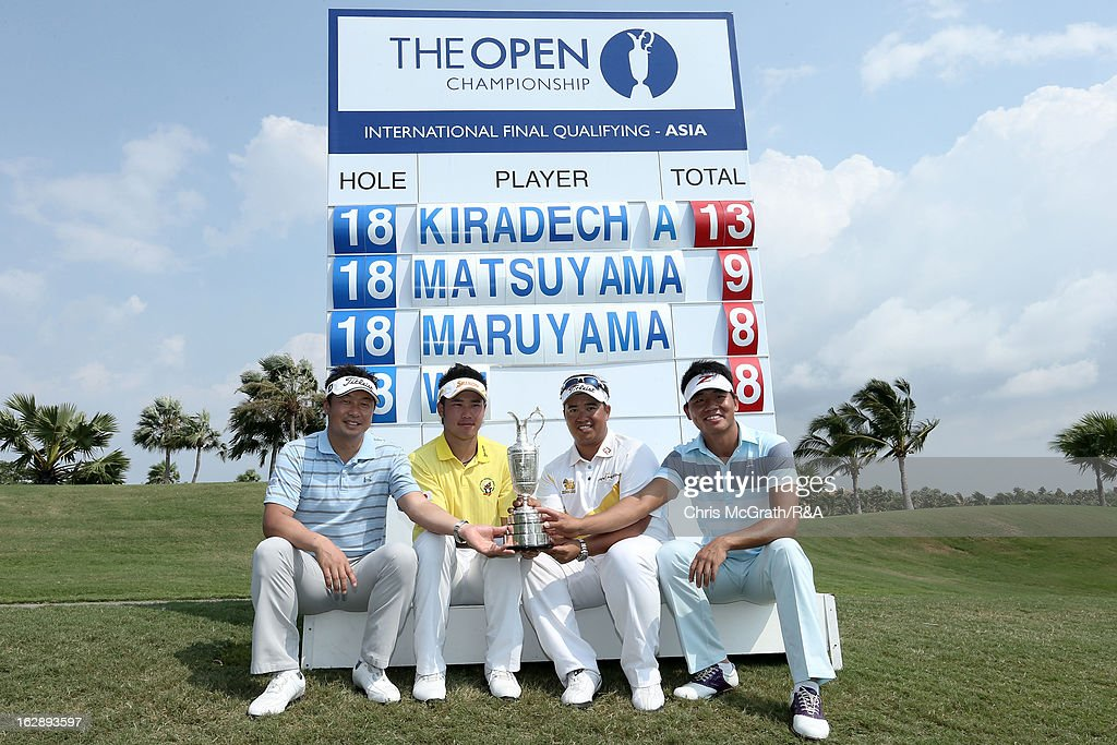 The four qualifyers (L-R) Daisuke Maruyama of Japan, <a gi-track='captionPersonalityLinkClicked' href=/galleries/search?phrase=Hideki+Matsuyama&family=editorial&specificpeople=5566852 ng-click='$event.stopPropagation()'>Hideki Matsuyama</a> of Japan, Kiradech Aphibarnrat of Thailand and Wu Ashun of China pose with The Claret Jug during round two of The Open Championship International Final Qualifying Asia at Amata Springs Country Club on March 01, 2013 in Bangkok, Thailand.