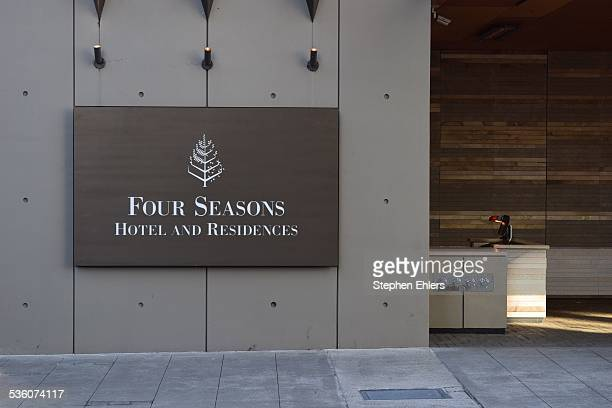 The Four Seasons Hotel sign in downtown Seattle Washington The valet desk is empty in this shot
