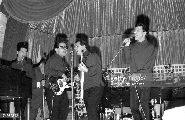 The Four Seasons perform on stage at the WMCA Good Guys concert on November 1 1964 in New York City New York