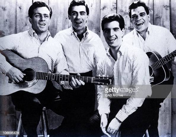 The Four Seasons pose for a group portrait Tommy DeVito Frankie Valli Bob Gaudio and Nick Massi circa 1964 in the United States