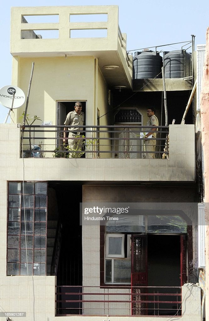 The four storey building where four members of a family were found dead on the second floor at Uttam Nagar on April 6, 2013 in New Delhi, India. Rajender Saxena allegedly killed his wife, children and put kerosene on their bodies and on himself and burnt everyone. A suicide is found in which Saxena said that he borrowed Rs.40 lakh from neighbors who were continuously threatening him and his family.