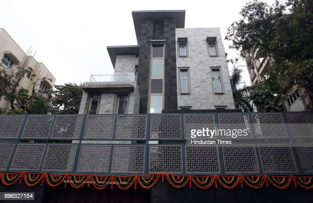 The four storey bungalow of cricketer Sachin Tendulkar at Perry Cross Road in Bandra decorated with flowers for the housewarming ceremony
