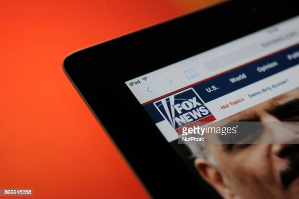 The Fox News logo is seen on an iPad on October 25 2017
