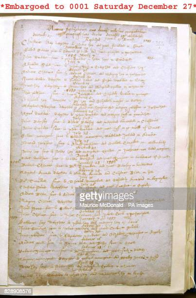 The fragile document being held at the General Record Office for Scotland in Edinburgh of the first recorded baptism in Scotland and goes on line...