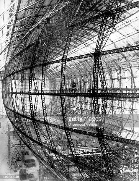 The frame of the LZ 129 is taking shape at the Zeppelin Works Friedrichshafen Germany early to mid 1930s It was soon to be named after the late Paul...