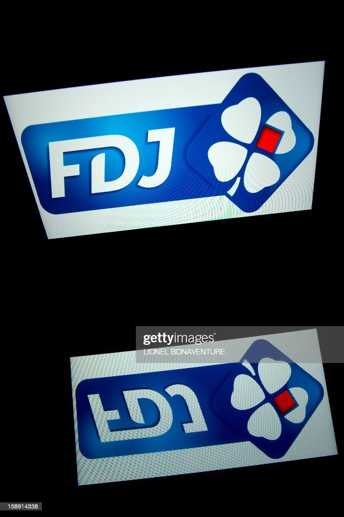 The Française des jeux (FDJ) logo is displayed on a tablet on January 3, 2013 in Paris. The Française des Jeux (FDJ), the operator of France's national lottery games, announced on January 3, 2013 that its turnover increased by 6,1% to reach 12,1 billion of euros in 2012. AFP PHOTO / LIONEL BONAVENTURE