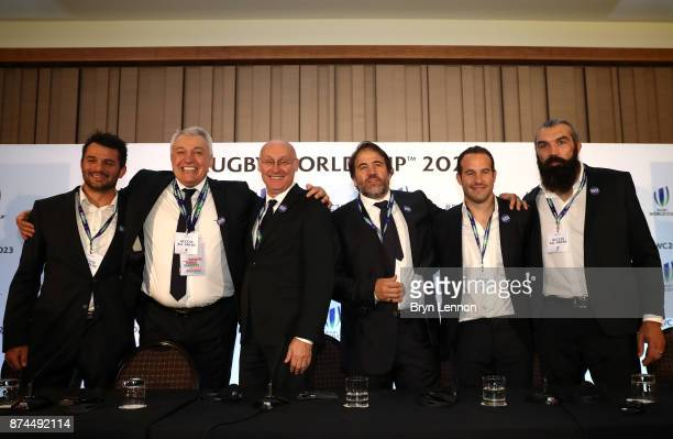 The France bid team celebrate after being annouced as the host nation for the 2023 Rugby World Cup during the Rugby World Cup 2023 Host Decision...