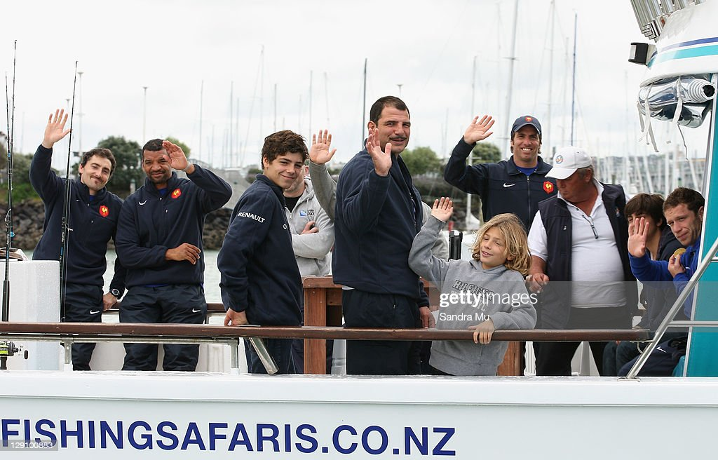 The France IRB Rugby World Cup 2011 management squad including coach <a gi-track='captionPersonalityLinkClicked' href=/galleries/search?phrase=Marc+Lievremont&family=editorial&specificpeople=2726997 ng-click='$event.stopPropagation()'>Marc Lievremont</a> (c) enjoy a fishing trip in Waitemata Harbour, on October 13, 2011 in Auckland, New Zealand.