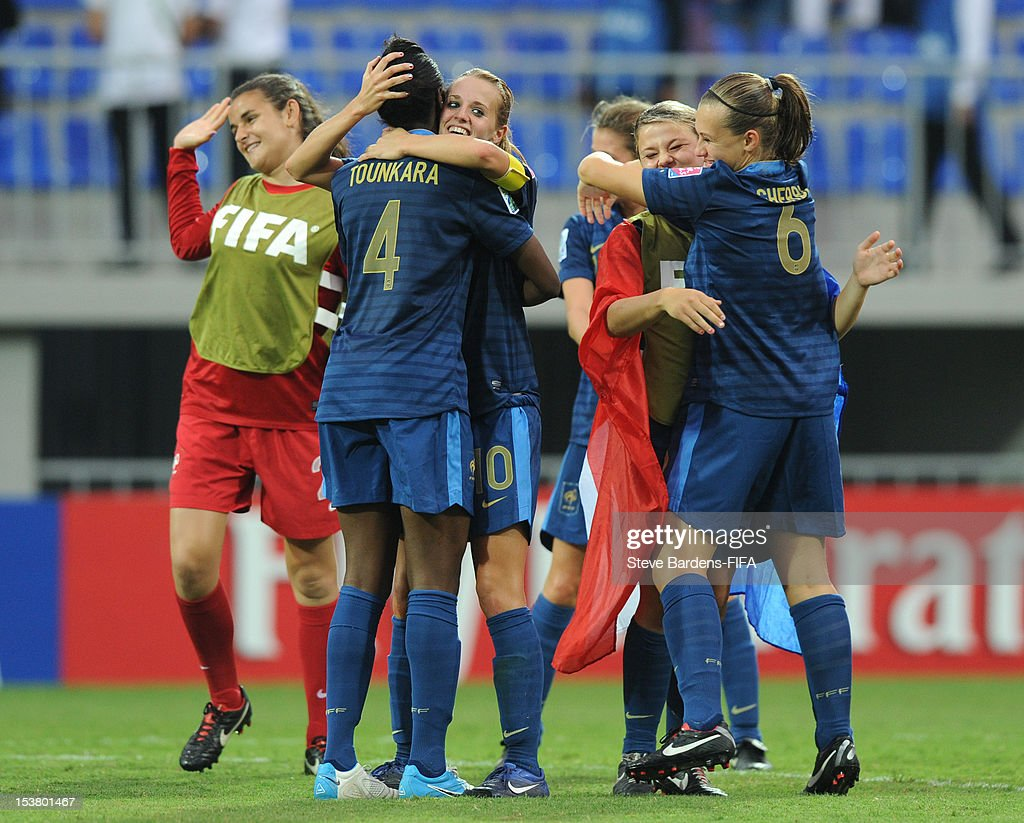 The France players celebrate their victory at the final whistle during the FIFA U-17 Women's World Cup 2012 Semi-Final match between France and Ghana at 8KM Stadium on October 9, 2012 in Baku, Azerbaijan.
