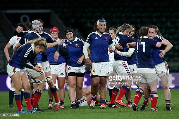 The France players celebrate their victory during the Women's Six Nations match between England and France at Twickenham Stadium on March 21 2015 in...