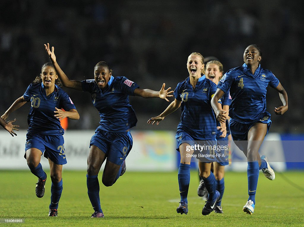 The France players celebrate victory in the penalty shoot out during the FIFA U-17 Women's World Cup 2012 Final between France and Korea DPR at the Tofig Bahramov Stadium on October 13, 2012 in Baku, Azerbaijan.