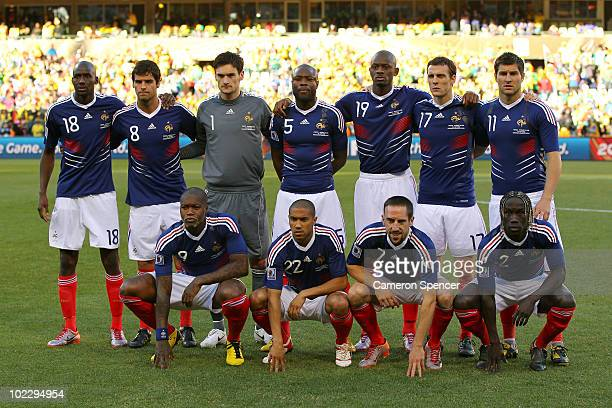The France team line up for a group photo before the 2010 FIFA World Cup South Africa Group A match between France and South Africa at the Free State...