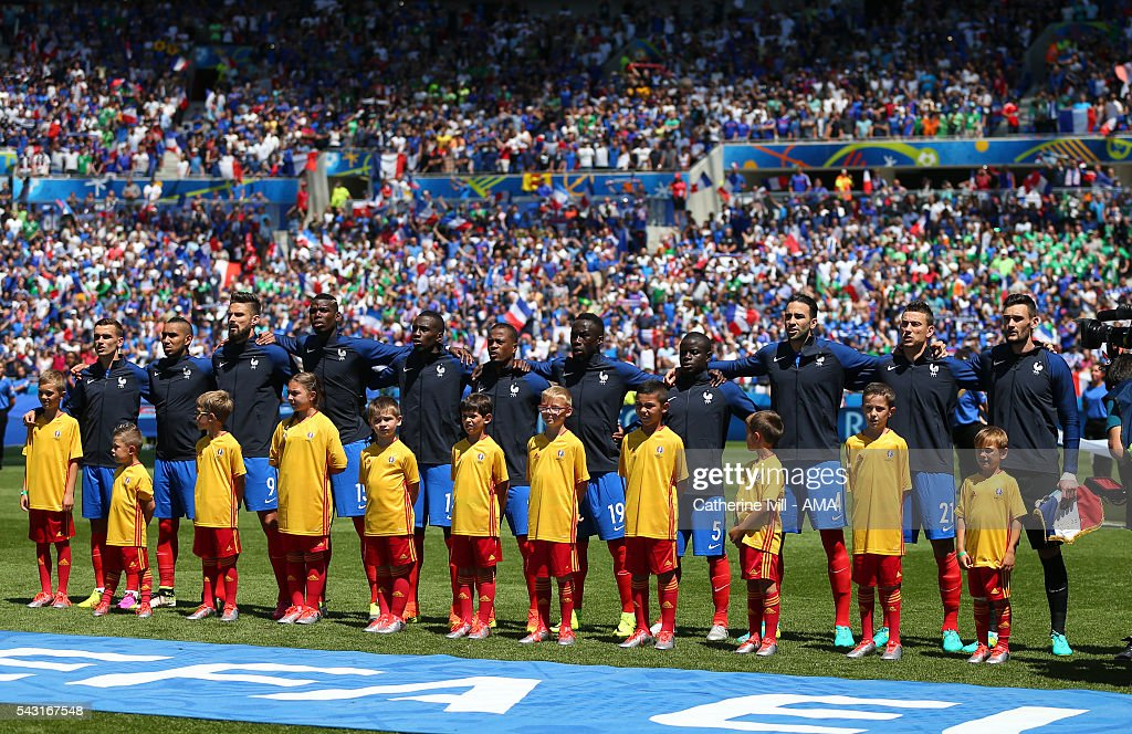 The France team line up for the national anthem before the UEFA EURO 2016 Round of 16 match between France and Republic of Ireland at Stade des Lumieres on June 26, 2016 in Lyon, France.