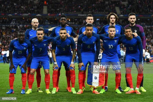 The France team pose prior to the International Friendly match between France and Spain at Stade de France on March 28 2017 in Paris France