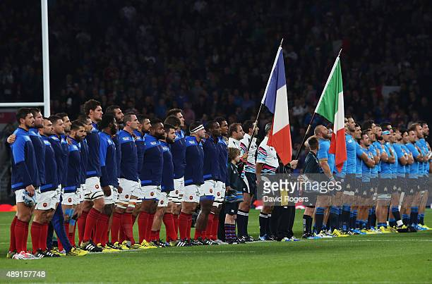 The France team sing the national anthem ahead of the 2015 Rugby World Cup Pool D match between France and Italy at Twickenham Stadium on September...