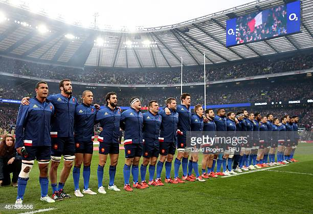 The France team sing the national anthem during the RBS Six Nations match between England and France at Twickenham Stadium on March 21 2015 in London...
