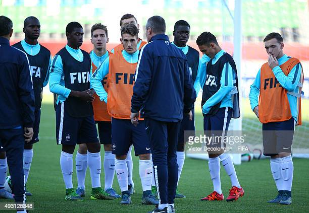 The France U17 team gather together before training at Estadio Chinquihue on October 17 2015 in Puerto Montt Chile