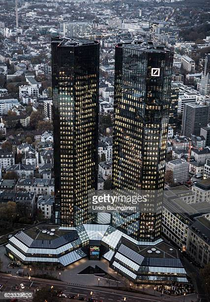 The Frankfurt banking district in the Blue Hour The picture shows the head office of Deutsche Bank AG