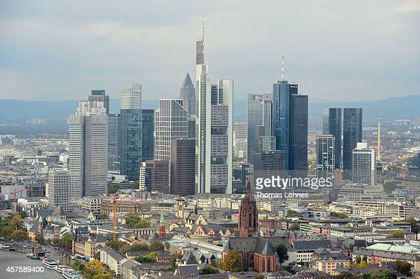 The Frankfurt city skyline pictured from the construction site of the new headquarters of the European Central Bank on October 21 2014 in Frankfurt...