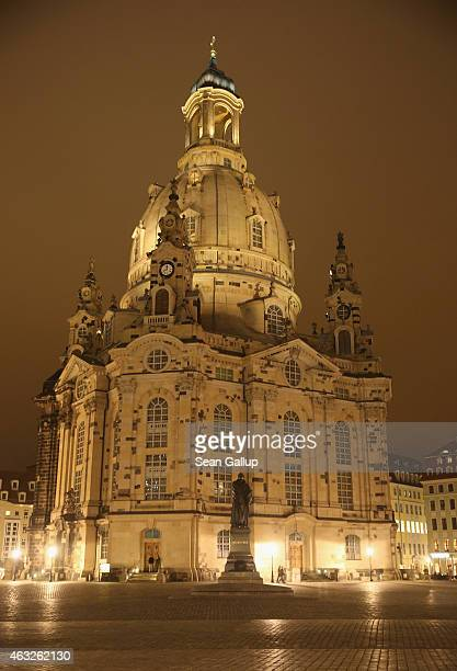 The Frauenkirche church which was obliterated by the Allied firebombing of February 1314 1945 and rebuilt in 2005 stands at night in Neumarkt square...