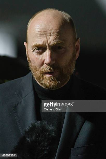 The freed OSCE observer Axel Schneider speaks during a press conference after his arrival following his release from captivity in eastern Ukraine at...