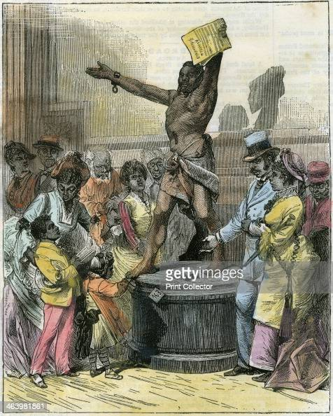 'The Freed Slave' statue in Memorial Hall Centennial Exhibition Philadelphia Pennsylvania USA c1876 The exhibition was held to commemorate the...
