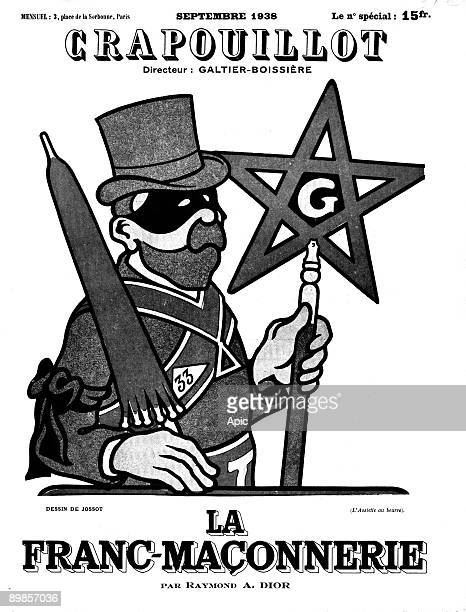 The freemasonry drawing by Jossot frontpage of newspaper Le Crapouillot in september 1938