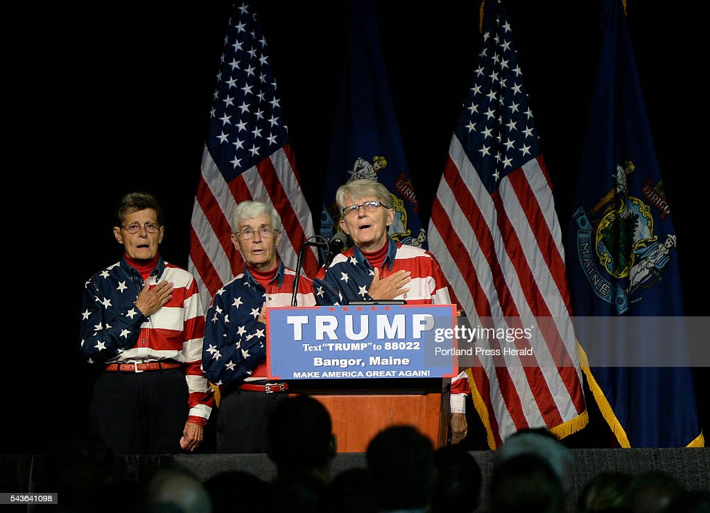 The Freeport Flag Ladies lead the pledge of allegiance at the Cross Insurance Center in Bangor Wednesday, June 29, 2016.