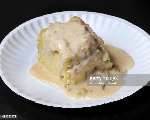 The Freeport Seafood Co entry of savory bread pudding with shrimp and bacon topped with a lobster cream sauce at The Incredible Breakfast CookOff...