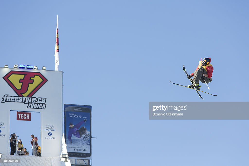 The freeskier Kai Mahler (2nd) of Switzerland at his final run on the Big Air jump at freestyle.ch Zurich on September 22, 2013 in Zurich, Switzerland.