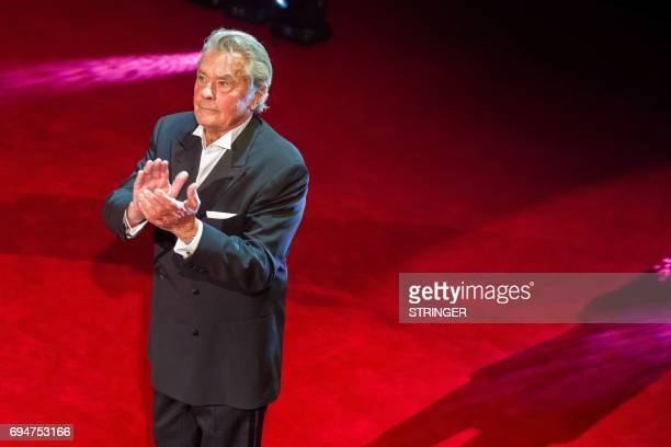 The french actor Alain Delon applauds the audience as he received 'Lifetime Achievement Award' at Transylvania International Film Festival in Cluj...