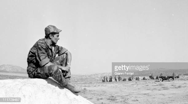 The french actor Alain Delon during the filming of the movie 'Los Centuriones' directed by Mark Robson Almeria Spain