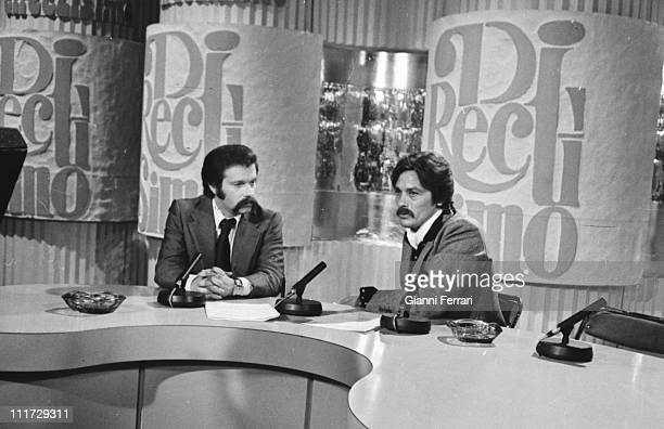 The French actor Alain Delon in a television interview with the presenter Jose Maria Inigo on Spanish Television Madrid Spain