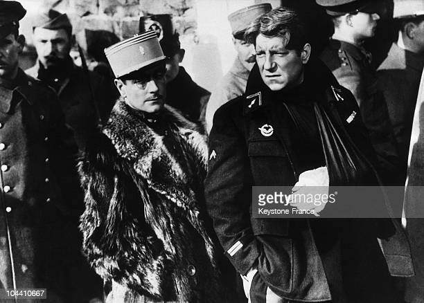The French actors Pierre FRESNAY and Jean GABIN during the shooting of the film 'LA GRANDE ILLUSION' directed by Jean RENOIR in 1936