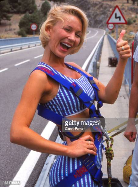 The French actress and dancer Marlene Mourreau doing bungee jumping 14th July 1998 near Madrid Castilla La Mancha Spain